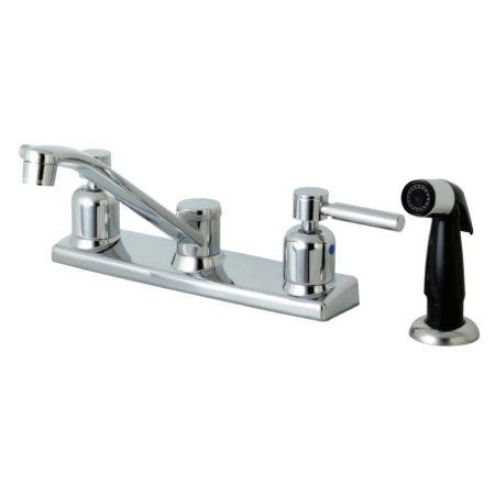 Kingston Brass FB122DL Concord 8-Inch Centerset Kitchen Faucet with Black Plastic Sprayer, Polished Chrome