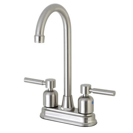 """Kingston Brass Concord FB498DL 4"""" Centerset High-Arch Spout Bar Faucet, Brushed Nickel"""
