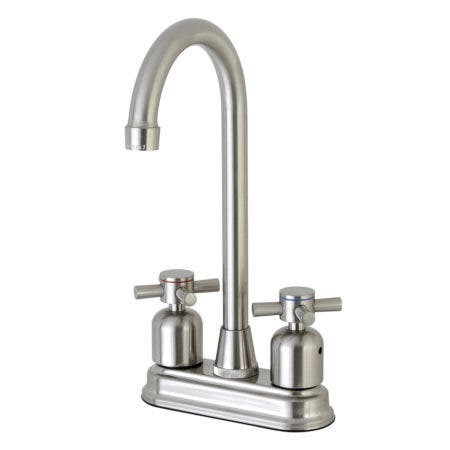 "Kingston Brass Concord FB498DX 4"" Centerset High-Arch Spout Bar Faucet, Brushed Nickel"