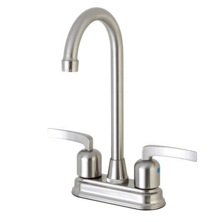 "Kingston Brass Centurion FB498EFL 4"" Centerset High-Arch Spout Bar Faucet, Brushed Nickel"