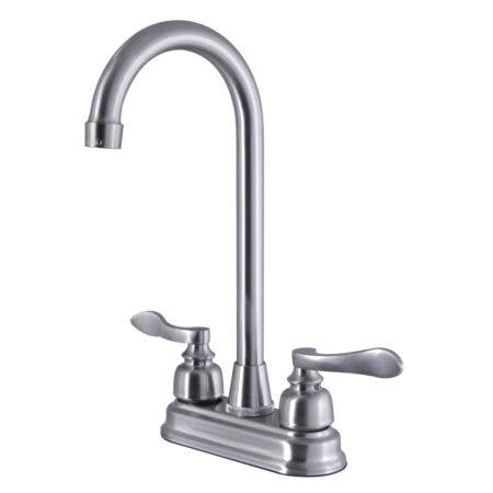 Kingston Brass FB498NFL 4-Inch Centerset High-Arch Bar Faucet, Brushed Nickel