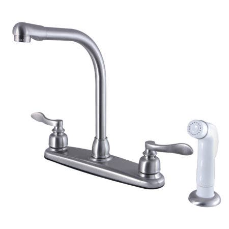 Kingston Brass FB718NFL NuWave French 8-Inch Centerset Kitchen Faucet with Sprayer, Brushed Nickel