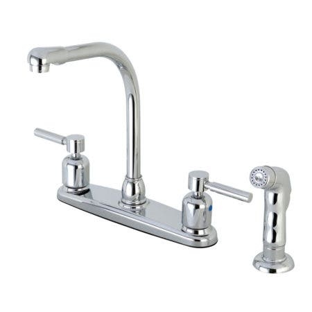 Kingston Brass FB751DLSP Concord 8-Inch Centerset Kitchen Faucet with Sprayer, Polished Chrome