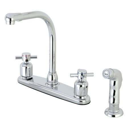Kingston Brass FB751DXSP Concord 8-Inch Centerset Kitchen Faucet with Sprayer, Polished Chrome