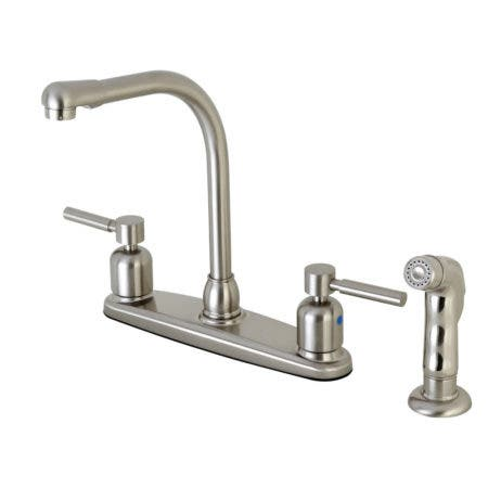 Kingston Brass FB758DLSP Concord 8-Inch Centerset Kitchen Faucet with Sprayer, Brushed Nickel