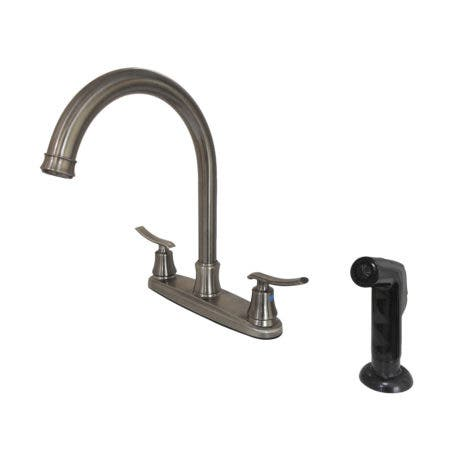 Kingston Brass FB7794JLSP 8-Inch Centerset Kitchen Faucet with Sprayer, Black Stainless