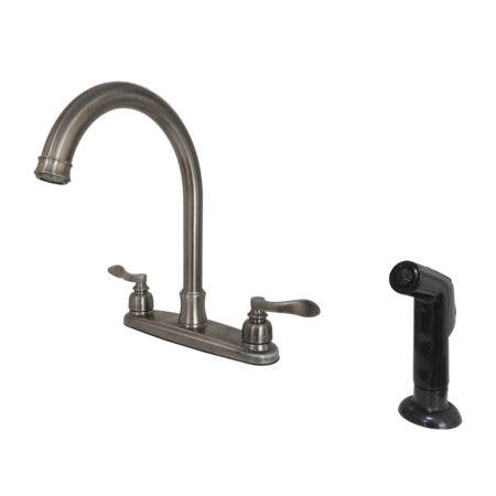 Kingston Brass FB7794NFLSP NuWave French 8-Inch Centerset Kitchen Faucet with Sprayer, Black Stainless