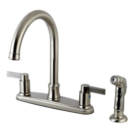 Kingston Brass FB7798NDLSP NuvoFusion 8-inch Centerset Kitchen Faucet, Satin Nickel