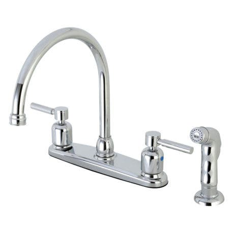 Kingston Brass FB791DLSP Concord 8-Inch Centerset Kitchen Faucet with Sprayer, Polished Chrome