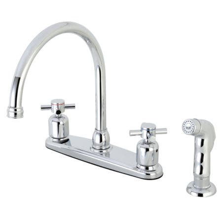 Kingston Brass FB791DXSP Concord 8-Inch Centerset Kitchen Faucet with Sprayer, Polished Chrome