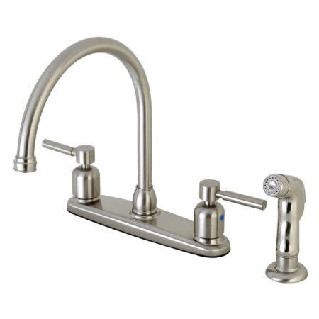 Kingston Brass FB798DLSP Concord 8-Inch Centerset Kitchen Faucet with Sprayer, Brushed Nickel