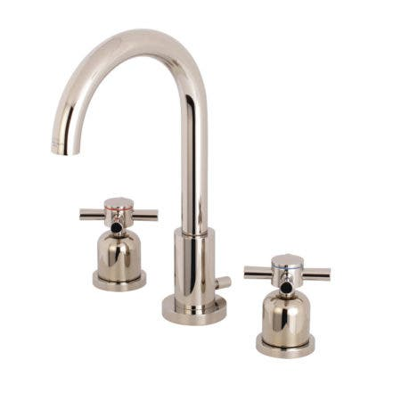 Fauceture FSC8929DX 8-Inch Widespread Lavatory Faucet with Brass Pop-Up, Polished Nickel