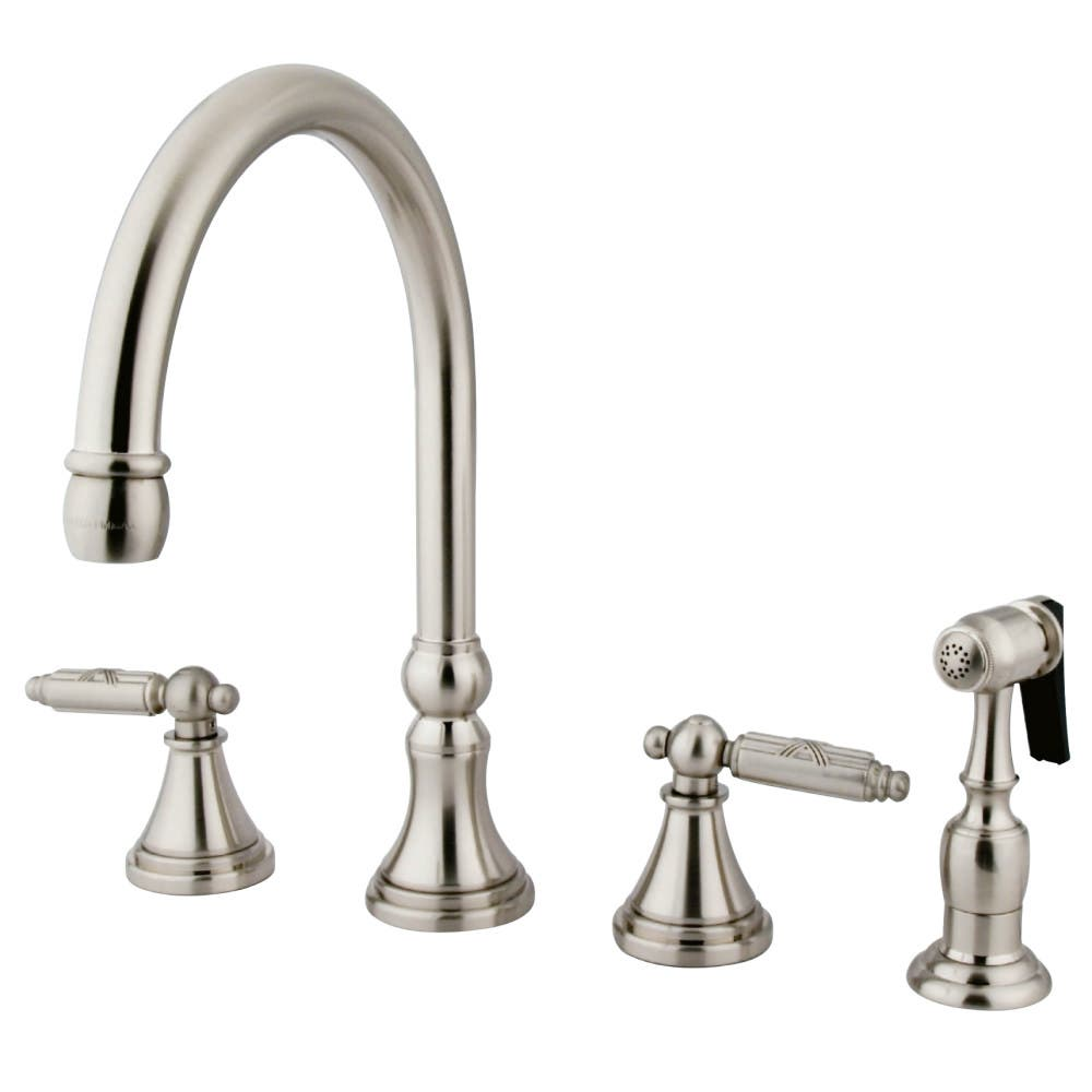 Gourmetier GS2798GLBS Widespread Kitchen Faucet with Brass Sprayer,, Brushed Nickel