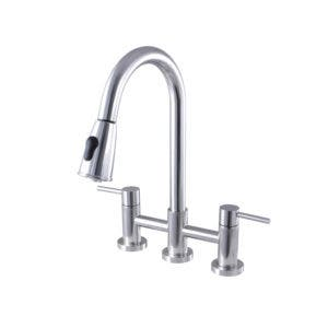 Gourmetier GS8251DL Concord Two-Handle Kitchen Bridge Faucet with Pull-Down Sprayer, Polished Chrome