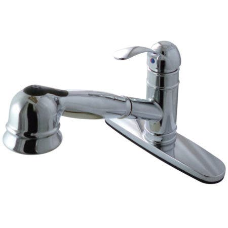 Gourmetier Gsc7571wel Eden Single Handle Kitchen Faucet With Pull Out Sprayer Polished Chrome Kingston Brass