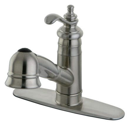Kingston Brass KB3755BL Vintage 8 inch center two handle kitchen faucet with side sprayer
