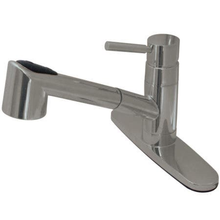 Kingston Brass KB3755PL Restoration 8 inch center two handle kitchen faucet with side sprayer