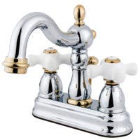 "Kingston Brass  KB1604PX Heritage 4"" Centerset Lavatory Faucet with Retail Pop-Up,  Chrome/Polished Brass"