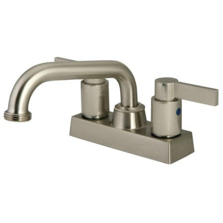 "Kingston Brass KB2478NDL Two Handle 4"" Centerset Laundry Faucet, Brushed Nickel"