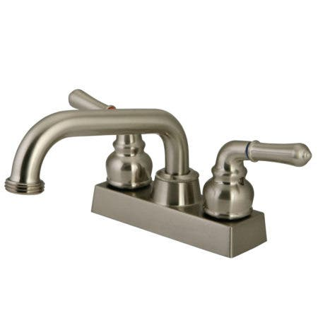 Kingston Brass KB2478NML 4?in.?Centerset?2-Handle?Laundry Faucet, Brushed Nickel