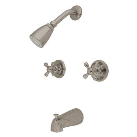 Kingston Brass KB248AX Magellan Twin Handle Tub & Shower Faucet With Decor Cross Handle, Brushed Nickel