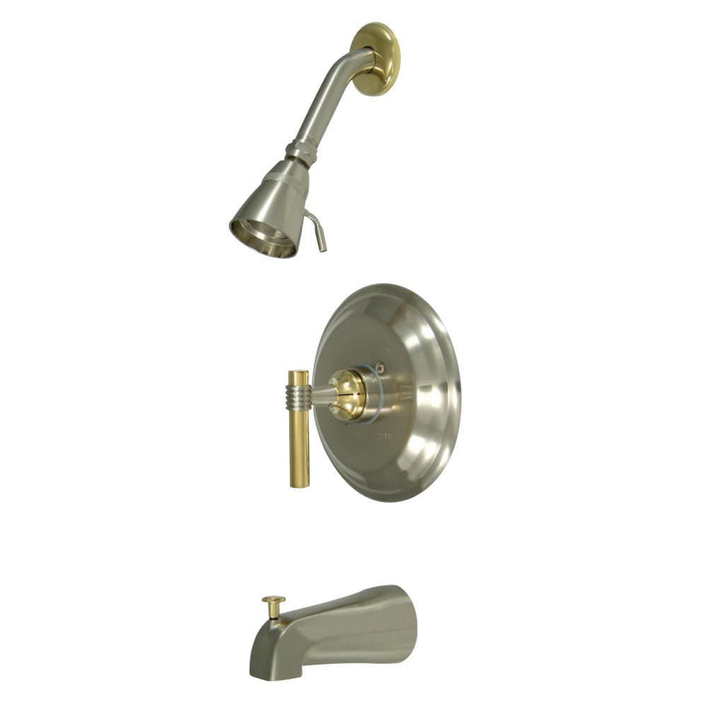 Brushed Nickel and Polished Brass Kingston Brass KB2639ML Milano Tub and Shower Faucet Milano Handle