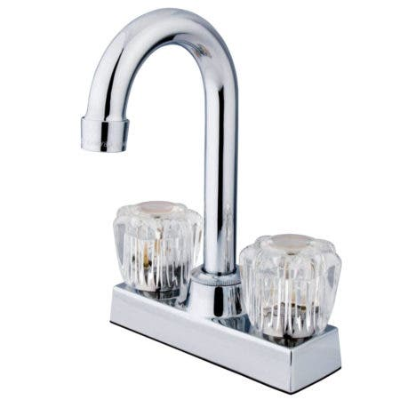 """Kingston Brass KB160 Twin Canopy Handles 4"""" Centerset bathroom Faucet with ABS Pop"""