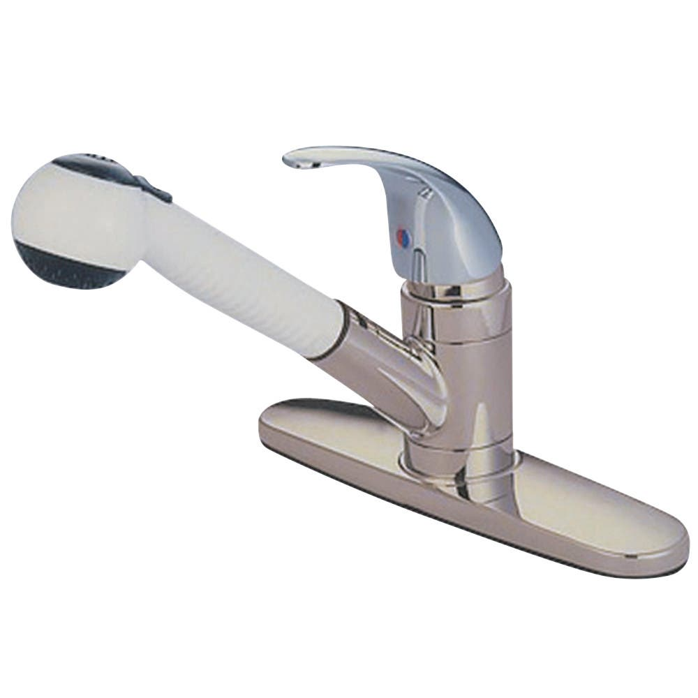 Kingston Brass KB6707LL Legacy Pull-Out Kitchen Faucet, Brushed Nickel/Polished Chrome