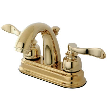 """Kingston Brass KB8612NFL NuWave French 4"""" Centerset Lavatory Faucet with ABS/Brass Pop-Up, Polished Brass"""