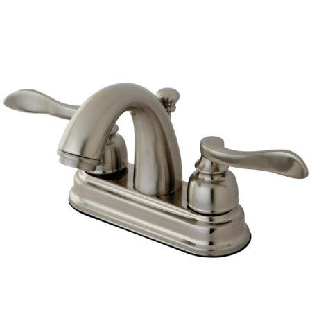 """Kingston Brass KB8618NFL NuWave French 4"""" Centerset Lavatory Faucet with ABS/Brass Pop-Up, Satin Nickel"""