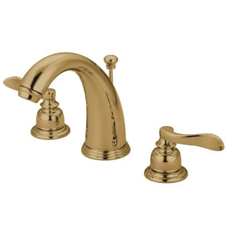 Kingston Brass KB8982NFL NuWave French Widespread Lavatory Faucet with ABS/Brass Pop-Up, Polished Brass