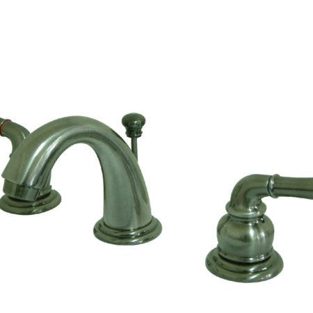 Kingston Brass  KB913 Magellan Mini Widespread Lavatory Faucet with Twin Lever Handles, ABS/Brass Pop-Up