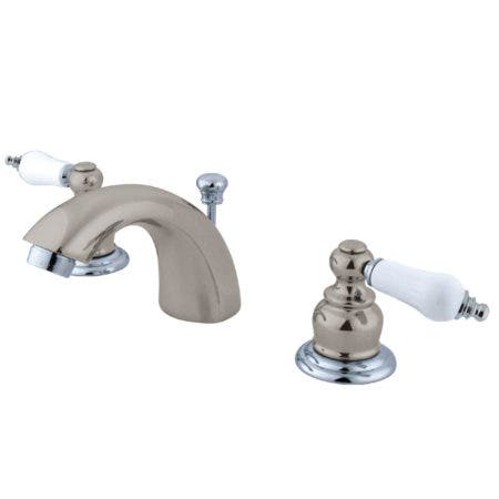 Kingston Brass KB947B Victorian Mini Widespread Lavatory Faucet with Retail Pop-Up,  Satin Nickel with Polished Chrome Trim