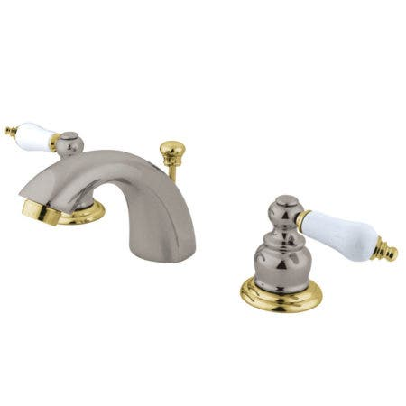 Kingston Brass KB949B Mini-Widespread Bathroom Faucet, Brushed Nickel/Polished Brass