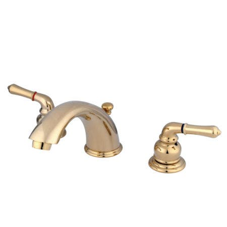 Kingston Brass KB962 Magellan Widespread Bathroom Faucet with Retail Pop-Up, Polished Brass
