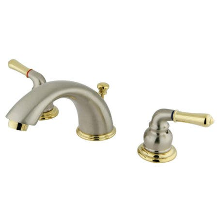 Kingston Brass KB969 Magellan Widespread Bathroom Faucet with Retail Pop-Up, Brushed Nickel/Polished Brass