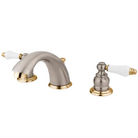 Kingston Brass KB979B Victorian Widespread Lavatory Faucet with Retail Pop-Up,  Satin Nickel with Polished Brass Trim