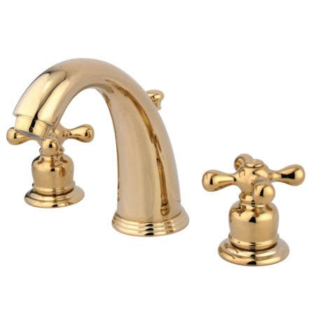 Kingston Brass KB982AX Victorian 2-Handle 8 in. Widespread Bathroom Faucet, Polished Brass