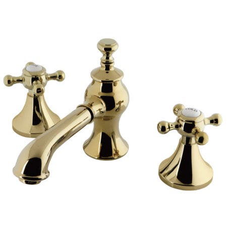 Kingston Brass KC7062BX Widespread Lavatory Faucet with Brass Pop-Up, Polished Brass