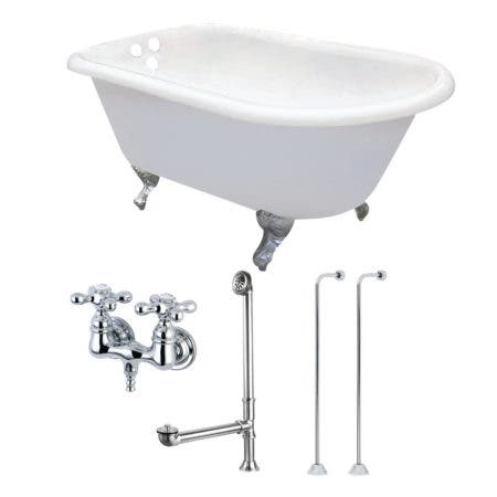 Aqua Eden KCT3D543019C1 54-Inch Cast Iron Roll Top Clawfoot Tub Combo with Faucet and Supply Lines, White/Polished Chrome