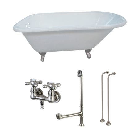 Aqua Eden KCT3D543019C8 54-Inch Cast Iron Roll Top Clawfoot Tub Combo with Faucet and Supply Lines, White/Brushed Nickel