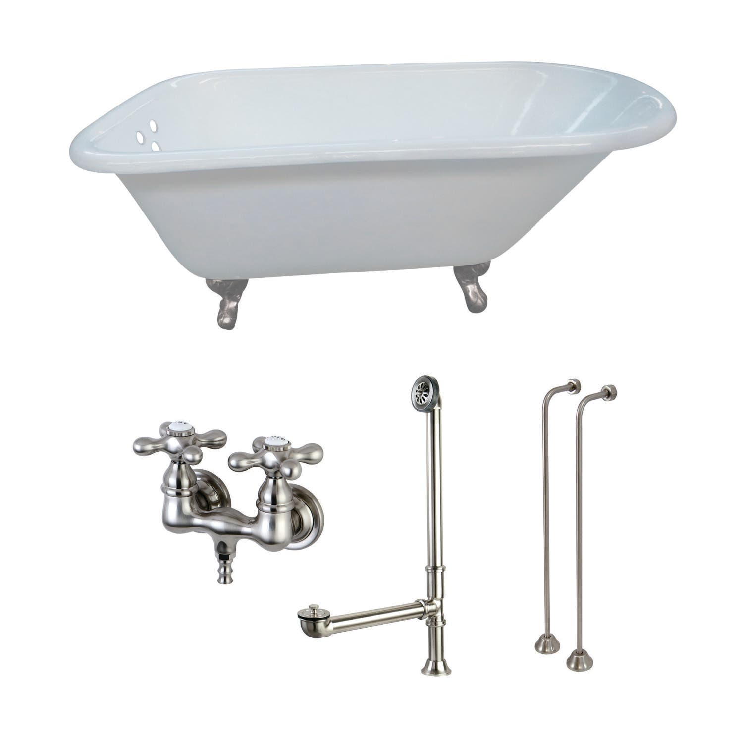 Kingston Brass Aqua Eden 54 Inch Cast Iron Clawfoot Tub With Faucet
