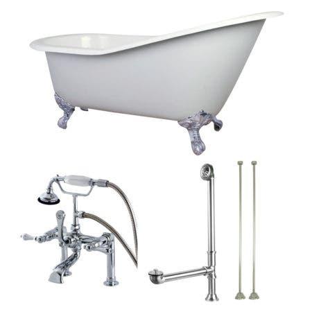 Aqua Eden KCT7D653129C1 62-Inch Cast Iron Single Slipper Clawfoot Tub Combo with Faucet and Supply Lines, White/Polished Chrome