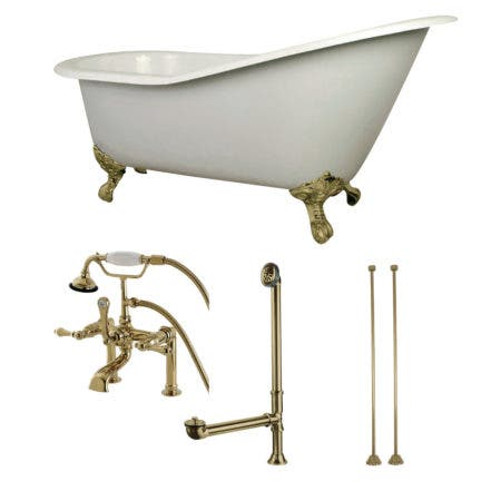 Aqua Eden KCT7D653129C2 62-Inch Cast Iron Single Slipper Clawfoot Tub Combo with Faucet and Supply Lines, White/Polished Brass