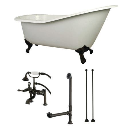 Aqua Eden KCT7D653129C5 62-Inch Cast Iron Single Slipper Clawfoot Tub Combo with Faucet and Supply Lines, White/Oil Rubbed Bronze