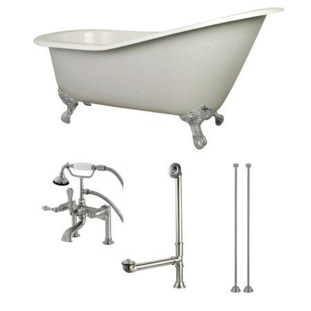 Aqua Eden KCT7D653129C8 62-Inch Cast Iron Single Slipper Clawfoot Tub Combo with Faucet and Supply Lines, White/Brushed Nickel