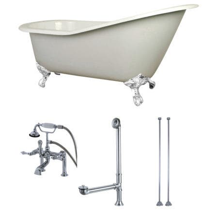 Aqua Eden KCT7D653129CW 62-Inch Cast Iron Single Slipper Clawfoot Tub Combo with Faucet and Supply Lines, White