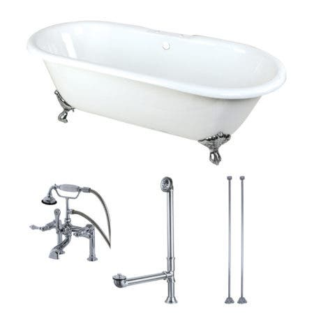 Aqua Eden KCT7D663013C1 66-Inch Cast Iron Double Ended Clawfoot Tub Combo with Faucet and Supply Lines, White/Polished Chrome