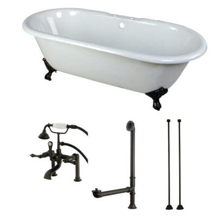 Aqua Eden KCT7D663013C5 66-Inch Cast Iron Double Ended Clawfoot Tub Combo with Faucet and Supply Lines, White/Oil Rubbed Bronze
