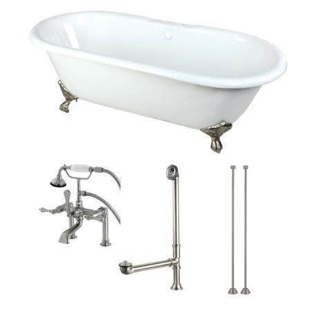 Aqua Eden KCT7D663013C8 66-Inch Cast Iron Double Ended Clawfoot Tub Combo with Faucet and Supply Lines, White/Brushed Nickel